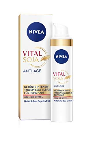 NIVEA Vital Soja Anti-Age Getönte Intensiv Tagespflege (40 ml), Tagescreme mit LSF 15 und Soja-Extrakt, Anti Aging Creme für gemilderte Falten
