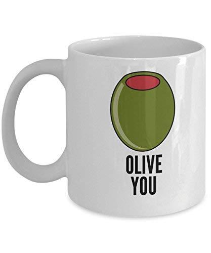 Queen54ferna Olive You Taza de cerámica divertida de 325 ml, divertida taza de la novedad, amante del licor, taza del día de San Valentín, 11 oz