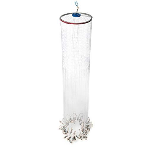 ZIEO Fisch schöpfen 2.4M 8FT Nylon Handbuch Fischnetz Spin-Köder-Guss Linie Senkblei Angeln Werkzeuge Weiß Garnelennetz zum Angeln (Color : White, Size : 2.4m)
