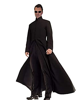 Rubber Johnnies Cybe Man Costume Trench Coat  Long Black Coat  Robe  Adult