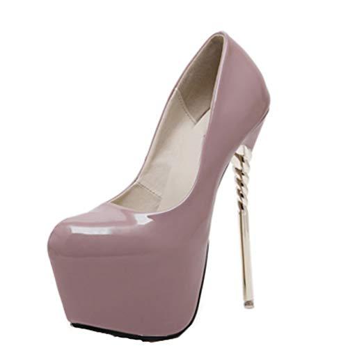 Zapatos de tacón de Aguja para Mujer, Tacones Altos de 16 CM, Plataforma de Punta Redonda, Zapato de Charol para Fiesta, Zapatos de Moda para Club Nocturno para Mujer