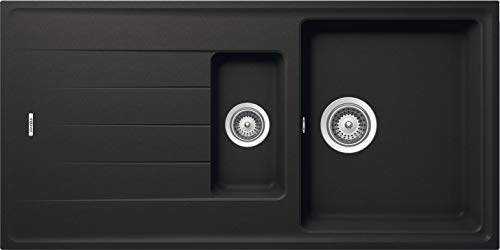 Gedotec Fregadero de cocina con escurridor – AS01B | Fregadero de cuarzo negro mate | 1000 mm x 500 mm | Fabricado en Alemania | 1 pieza – Lavabo con material de fijación y desagüe
