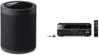 Yamaha MusicCast 20 Wireless speaker for Streaming Music, Black (2) with RX-V485BL 5.1-Channel 4K Ultra HD AV Receiver. Works with Alexa Black