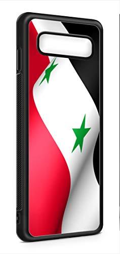 Kompatibel mit Samsung Galaxy S10+ Plus Silikon Handyhülle Flexibles Slim Case Cover Syrien Syria Fahne Flagge Schwarz