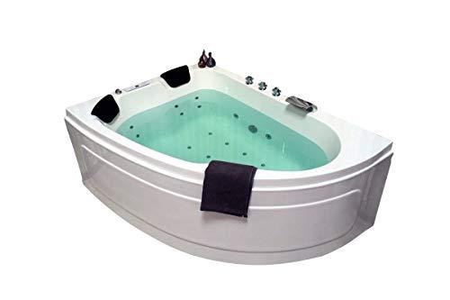 Doppel Whirlpool Badewanne Titan MADE IN GERMANY 180 x 130 cm mit 25 Massage Düsen + LED Beleuchtung + Heizung + Ozon Desinfektion + DHW + OHNE Armaturen Eckwanne rechts o. links Eckbadewanne