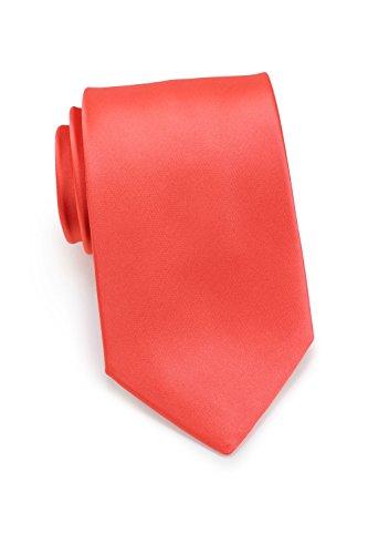 PUCCINI Uni Krawatte, Tie, Binder, Herren-/Hochzeitskrawatten, Schlips, Plastron │ 8.5cm schmal-slim │ einfarbig-unifarbig: Koralle