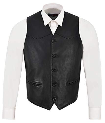 Smart Range Leather Co Ltd. Gilet in Pelle da Uomo Nero Classico in Vera Pelle di Agnello Italian Fitted Design Zara (2XL)