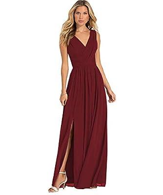 Yilis Women's Double V Neck A Line Slit Chiffon Chiffon Bridesmaid Dress Long Formal Prom Wedding Party Gown Burgundy US8