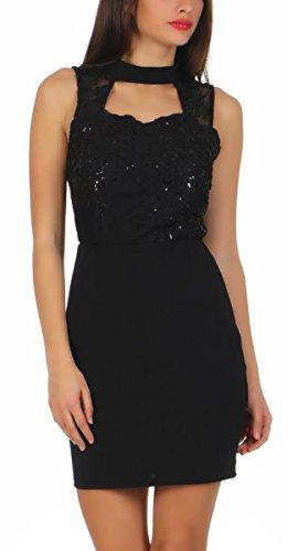 OSAB-Fashion 5168 Damen Kleid Cocktailkleid Spitze Party Minikleid Clubwear Bodycon Kleid Dress...