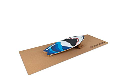 BoarderKING Indoorboard Wave - Skateboard Surfboard Trickboard Balanceboard Balance Board (Shark (100 mm x 33 cm (Ø x L))