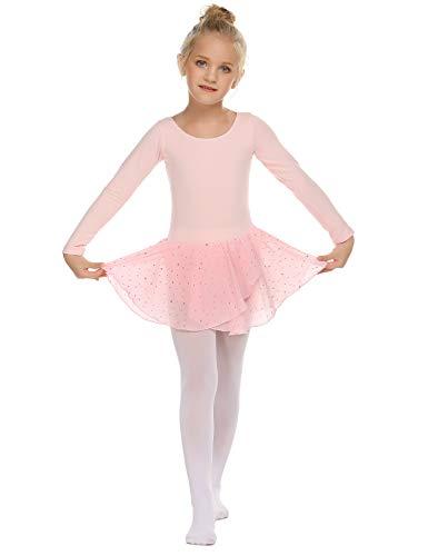 Trudge Mädchen Ballettkleidung Ballettkleid Kinder Langarm Baumwolle Balletttrikot Ballettanzug Tanzkleid Tanzbody mit Rock Tütü, A Rosa, 140 / 6-7 Jahre