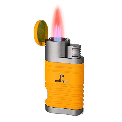 PIPITA Winddicht Sturmfeuerzeug ZigarrenFeuerzeuge 4 Taschenlampe Jet Rot Flammen Gas Nachfüllbar Metall Feuerzeuges mit Zigarren Bohrer (Verkauft ohne Gas)