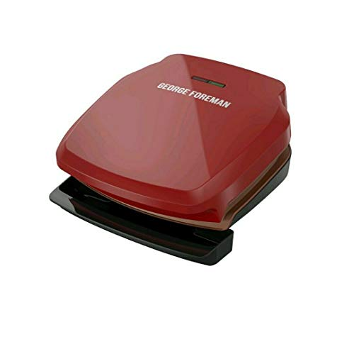 George Foreman 2-Serving Copper Electric Indoor Grill and Panini Press, Red, GR320FRC-HP