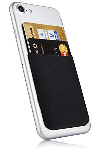 MyGadget Handy Kartenhalter zum aufkleben - RFID Blocking Haftendes Kartenfach, Kartenhülle, Karten Halterung - Geldbörse Smartphone Etui in Schwarz