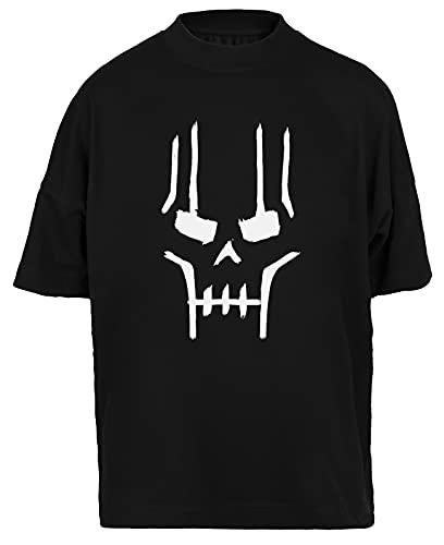 Necron Face Camiseta Holgada Hombres Mujeres Unisex Negra Algodon Organico tee Baggy T-Shirt Unisex Black XL