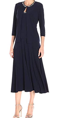 Alex Evenings Women's 2 Piece Tea Length Jacket Dress with Sequin Beaded Trim, Navy, 12