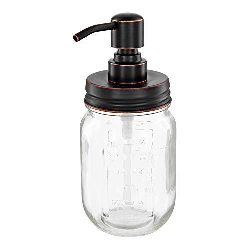 Altglas Vintage Seifenspender aus Retro Mason Jar 473 ml mit Edelstahl Pumpkopf (Schwarz mit Kupfer Öl-Schliff)