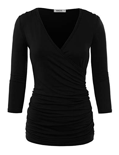 Doublju Womens 3/4 Sleeve V-Neck Surplice Wrap Shirt with Plus Size Black Medium