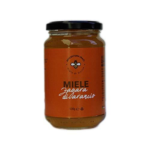 Miel cruda de Apicoltura Iraci - Producida en Sicilia - 100% pura y natural - Aroma floral - Sabor rico y dulce (Naranja de Zagara, 500 Gramos)