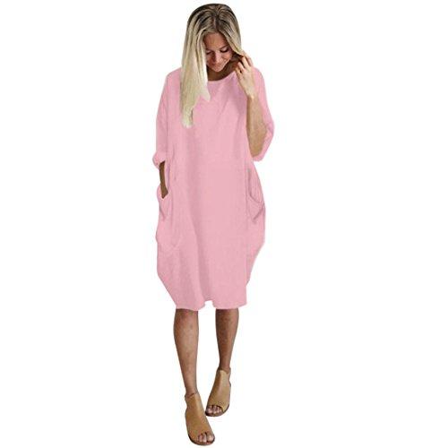 Women Long Sleeve Shirt Dress, Ladies { Loose Dress Plus Size } Crew Neck Pocket Long Tops (XL, Pink)