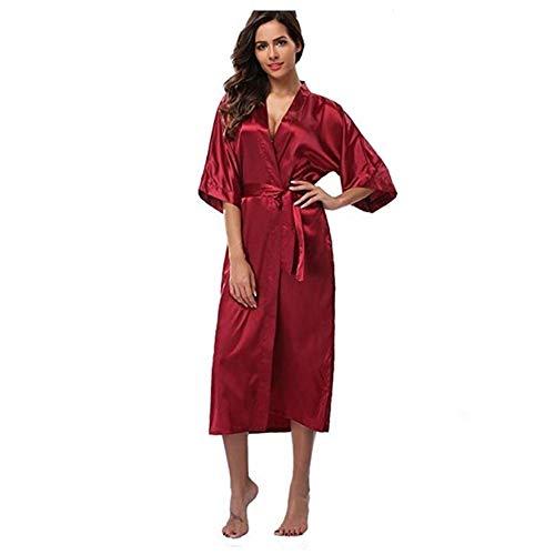 Aututer Satén de Seda para Mujer Novia de Novia Larga Bata de Dama de Honor Bata de Kimono Albornoz Pijama