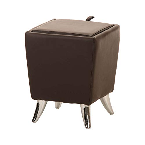 Taburete Puff De Almacenamiento Roxy I Taburete Reposapiés Tapizado En Simil Cuero I Otomana De Almacenaje Moderna I Color: marrón