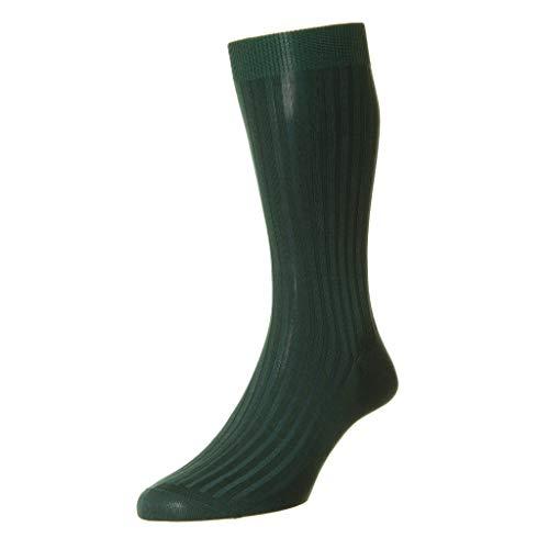 Pantherella Herren Socken Danvers Over The Wade Baumwolle Lisle solide gerippt Kleid Socken, Dunkelgrün, Größe M