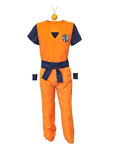 ZeroGoo Goku Costume Cosplay, Unisex Dragon Ball Z Costume Cloth with 4 Star DBZ Necklace for Kid Adult Men Women Christmas (Men M) Orange