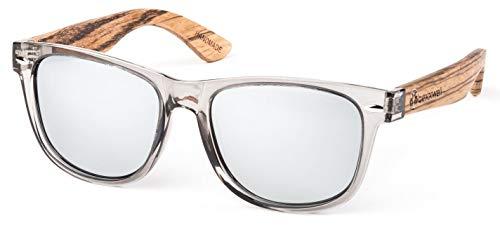 Bexxwell Sonnenbrille mit Echtholz-Bügeln, handgefertigt, UV-Schutz, polarisiert (Holz, Wood) (Transparent/Silber verspiegelt und Holz hell)