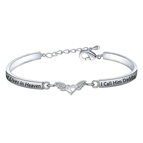 LQRI Loss of a Dad Memorial Keychain Gift for Daughter Son My Guardian Angel Lives in Heaven I Call Him Daddy Memorial Keychain (bangle)