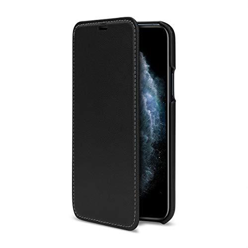 Baroon, dünne Leder-Hülle kompatibel mit iPhone 11 Pro, handgefertigte Tasche aus echtem Leder, Flip Schutzhülle im Slim Book Style, Elegance Edition, Schwarz