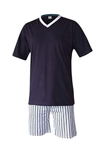 Herren Pyjama Schlafanzug kurz Herren Pyjama kurz Herren Shorty Schlafanzug aus 100{6695410831c57299ac6be6afbfafe539e6f2bff5e6ebba30b5d289a6e341b285} Baumwolle (XXXL/62-64, Oberteil Marine/Hose gestreift)