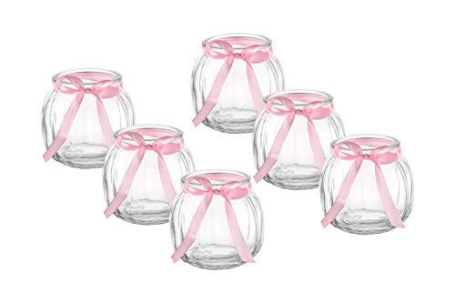 casavetro 12 x Kleine Deko-Vase Schleife Weiss oder rosa Teelichtgläser Tisch-vasen Dekoration Windlicht Teelicht-Gläser Hochzeit Party Set Flasche Glas klar (12 x Rosa Schleife)