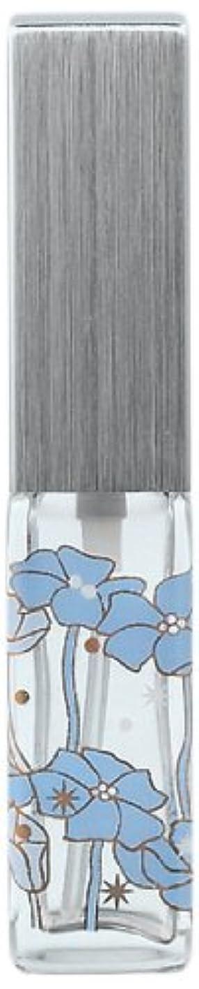 ペパーミント荷物事18010 ハンドメイドグラスアトマイザー 角ビン転写 キャップ ヘアラインシルバー