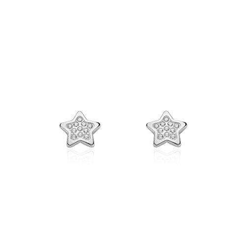 Pendientes Niña Oro Blanco de estrella con circonitas (9kts)