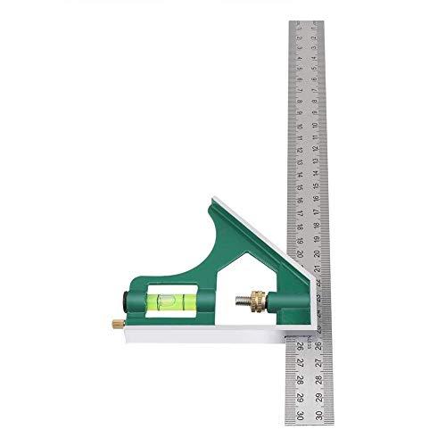 Squadra universale, regolabile, multifunzionale, in acciaio inox, ad angolo retto, strumento di misurazione, 30 cm, Verde