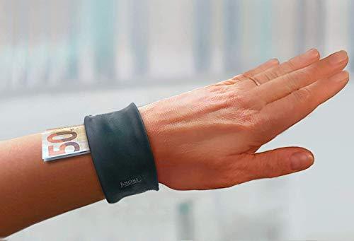 schicke mini Armbandtasche im klassischen Leder-Look - praktische Lederband Tasche fürs Handgelenk beim Tanzen Sport Festival Urlaub Ledergeldbeutel Geldbörse Brieftasche Geldbeutel Damen Herren