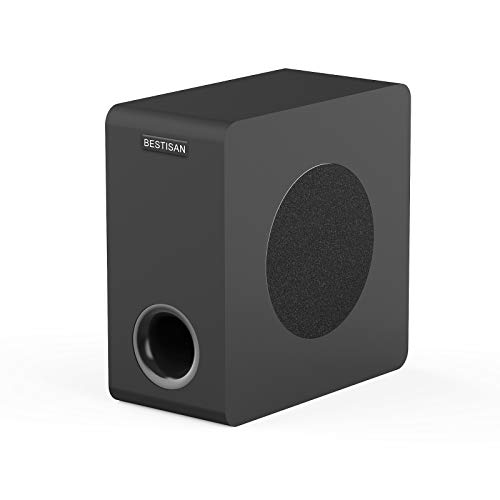 BESTISAN Powered Subwoofer, 6.5'' Bluetooth 5.0 Home Audio Subwoofer, Deep Bass Response Subwoofers in Compact Design, Easy Setup with Home Theater Systems, TV, Speakers, Optical/Bluetooth/RCA, Black