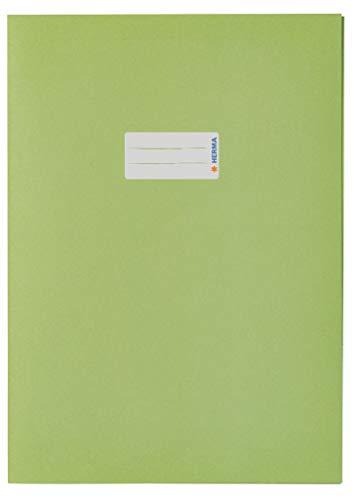 HERMA 5538 Papier Heftumschlag DIN A4 mit Beschriftungsfeld, aus kräftigem Recycling Altpapier und satten Farben, Heftschoner für Schulhefte, hellgrün