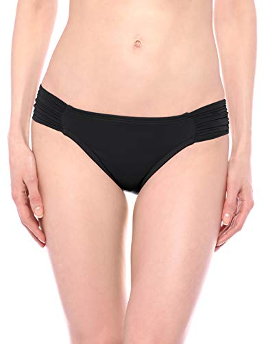 La Blanca Women's Island Goddess Side Shirred Hipster Bikini Swimsuit Bottom, Black, 8