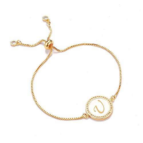 YIYYI HQXIZ Armband Shell Zirkoon 26 Alfabet Letter Bedel Armband Femme Koper Armbanden Verstelbaar