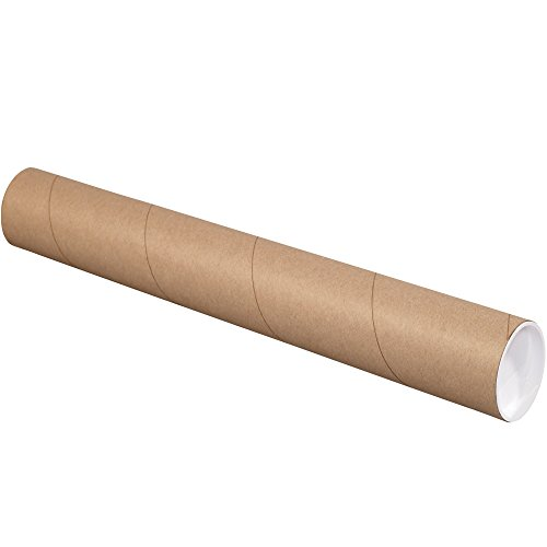 Aviditi Kraft Heavy Duty Mailing Tubes with Caps, 4' x 24', Pack of 12, for Shipping, Storing, Mailing, and Protecting Documents, Blueprints and Posters