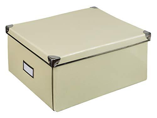 Idena 10518 - Aufbewahrungsbox aus festem Karton, Deckel mit Metall verstärkt, inklusive Beschriftungsfeld, ca. 36 x 28 x 17 cm, creme