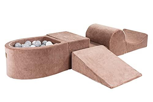 MEOWBABY 200x45cm/100 Balles Aire De Jeux avec Piscine À Balles L'ensemble De Jeu en Mousse 5 Éléments Module en Mousse Tapis De Jeu Beige: Blanc/Gris