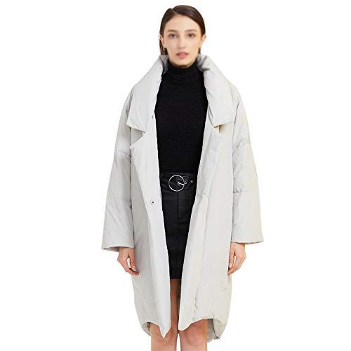 Unbekannt Redwoky Eleganter Frauen stilvoller Anzug Kragen Loser Mantel Medium Stil Winterjacke (Farbe : Grau, Size : L)