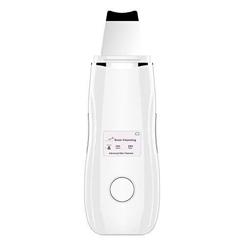 4 In1 Ultrasons Nettoyage Visage EMS Ionique Spatula Skin Scrubber Points Noirs Pores Cleaner Visage Traitement Exfoliation Vibration Appareil de Massage Facial avec écran LCD,Blanc