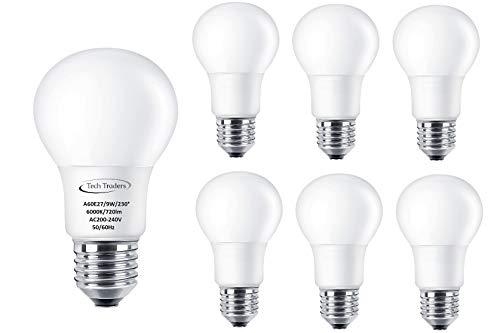 Tech Traders® LED E27 lamp komt overeen met 90 W, A60, warm wit (3000 K) & koel wit (6000 K), 9 W LED ES GLS gloeilamp, plafondpanelen, LED-lampen, energiebesparende lampen