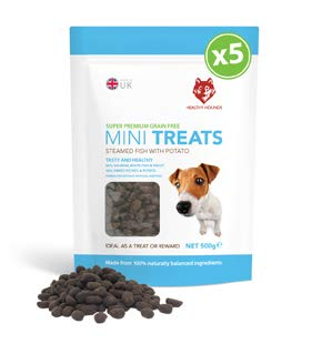 Grain Free Dog Training Treats 500g - 1000 Treat Resealable Pack - Healthy Hounds - 80% Steamed Fish, 20% potato & sweet potato - Puppy Training, Dog Training - BIG VALUE - Contain Omega 3, 6, 9 for skin, coat and joints