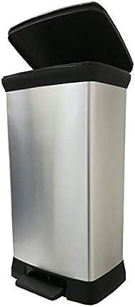 Curver Cubo de basura con pedal 50L, Metal, 37x27x70 cm, 187152, compuesto