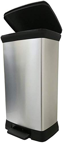 Curver 187152 Poubelle à pédale plastique Argent 50 L